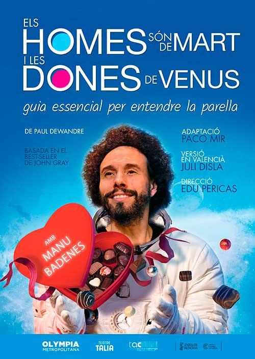 Cartel en valenciano de la obra 'Els Homes són de Mart i les Dones de Venus' con Manu Badenes.