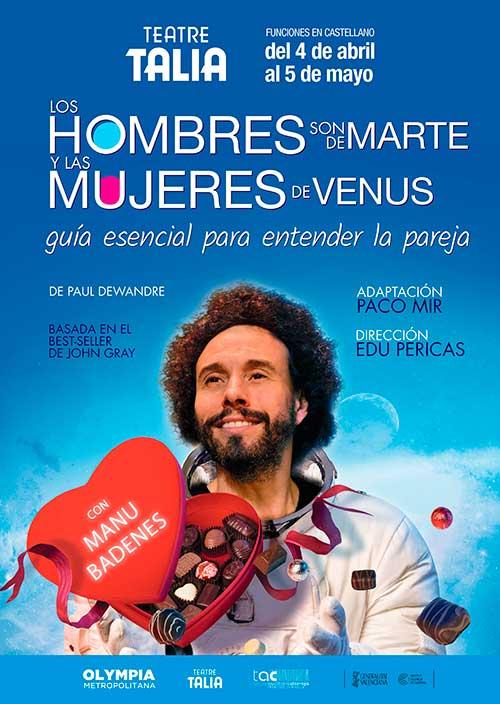 Cartel de 'Los Hombres son de Marte y las Mujeres de Venus' con Manu Badenes.