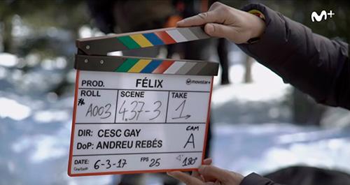 Claqueta en el rodaje de la serie Félix.